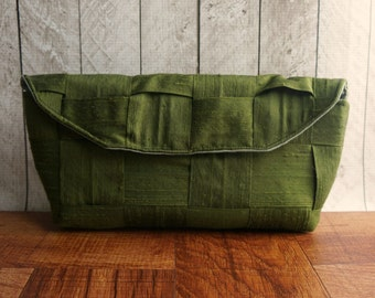 Moss green clutch bag, fall fashion, autumn, olive green silk clutch, woven purse