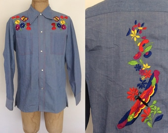 1970's Mens Butterfly & Floral Embroidered Chambray Denim Pearl Snap Button Up Size Large by Maeberry Vintage