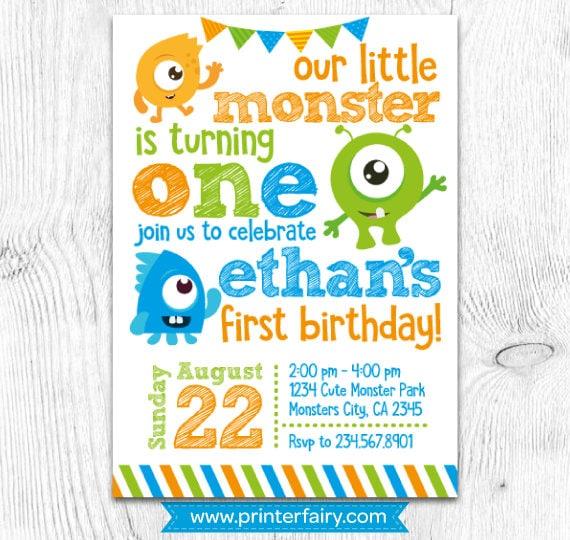 Little Monster Birthday Invitations Monster Invitations Monster
