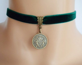 green velvet choker, gemini choker, gemini necklace, zodiac charm, antique bronze