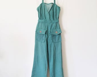 1970's Green Halter Top Over Alls
