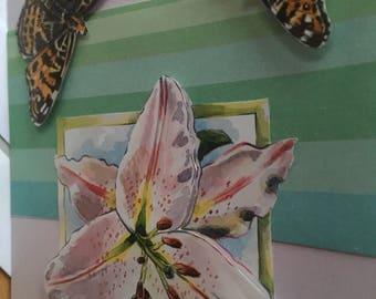 Card 3D purple butterflies