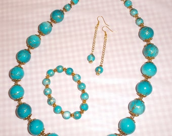 3 Piece Jewelry Set in Turquoise Blue with Gold Swirl Acrylic Beads.   Matching Bracelet and Long Dangle Earrings