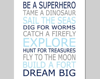 Be a Superhero Playroom Rules Baby Boy Nursery Art Quote - 8x10 Print - CHOOSE YOUR COLORS