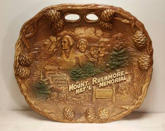 Faux Wood Resin Souvenir Bowl from Mt Rushmore Hand Carved Look by TACO 1970s
