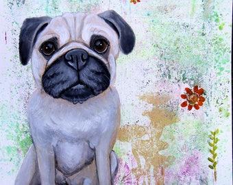 Original Whimsical Fawn Pug Painting Fine Dog Art Modern Nursery Art