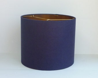 Small Drum Lamp Shade in Navy Blue  Linen Fabric with Metallic Gold Lining