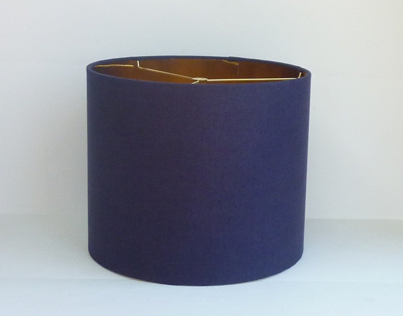 Small drum lamp shade in navy blue linen fabric with metallic zoom aloadofball