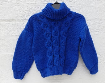 Boys sweater girls handmade blue jumper cable knit top hand knit 1980s winter back to school blue wool sweater clothing kids vintage gift UK