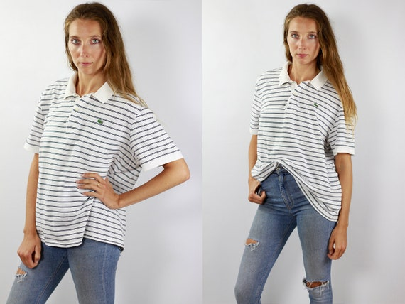 LACOSTE Poloshirt Lacoste Polo Shirt Lacoste White Poloshirt Lacoste Vintage Striped Poloshirt Striped T-Shirt Lacoste T-Shirt Lacoste Shirt