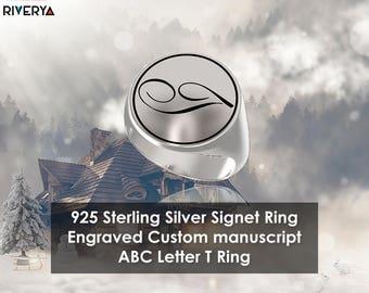 Custom Initial Ring ,Letter T ring, Monogram Ring, Letter Rings, Signet Ring, Round Ring, 925 Sterling Silver Ring