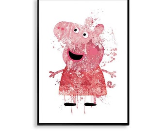 Peppa Pig Prints, Peppa Pig watercolor poster, Playroom Wall Art - Kids Room -Peppa Pig Nursery Print, Pink Nursery Art Decor, ET302
