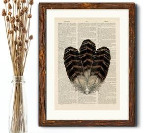 Feather Print - Vintage Book Page Print, Antique Dictionary Page Art, Wall Art, Antique Book Page