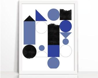 Modern Minimalist, Print Geometric,Blue, Decor Modern, Print Scandinavian, Minimal Modern, Print Abstract, Prints Minimalist, Art Minimalist