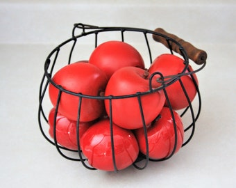 Wire basket with apples, Vintage Wood and Ceramic Apples