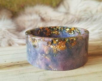 Purple Galaxy Resin Cuff Bangle