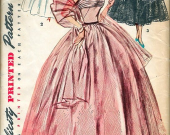 """Vintage 1950's Simplicity 4584 Halter Evening Gown in Two Lengths & Stole Sewing Pattern Size 11 Bust 29"""""""