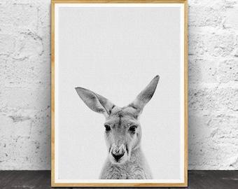 Kangaroo Print, Black White Animal, Animal print, Nursery Animals, Black and White Prints, Black and White Art, Australian Animal, Animal