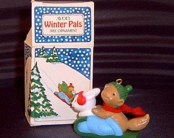 Avon Winter Pals Holiday Christmas Tree Ornament 1984
