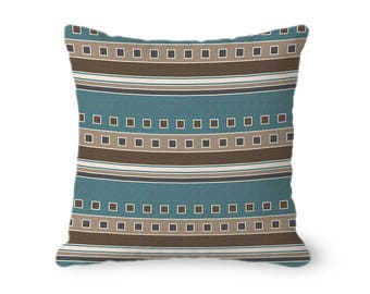 Brown and Teal Pillow with insert, modern stripes and squares