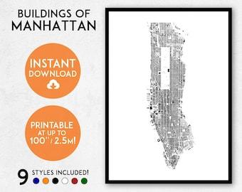 Manhattan map print, Printable New York map print, Manhattan print, Manhattan poster, Manhattan art, NYC map, Manhattan wall art, NY map