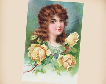 Lady With Yellow Roses New 4x6 Vintage Postcard Image Photo Print IL83