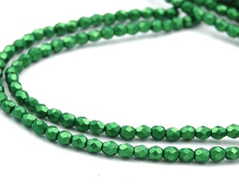 100/pc Metallic Kale Green Czech 4mm Fire-polished Faceted Round Beads
