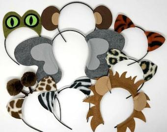 Jungle safari zoo animals theme ears headband birthday party favor costume lion elephant monkey zebra tiger leopard giraffe kid adult baby