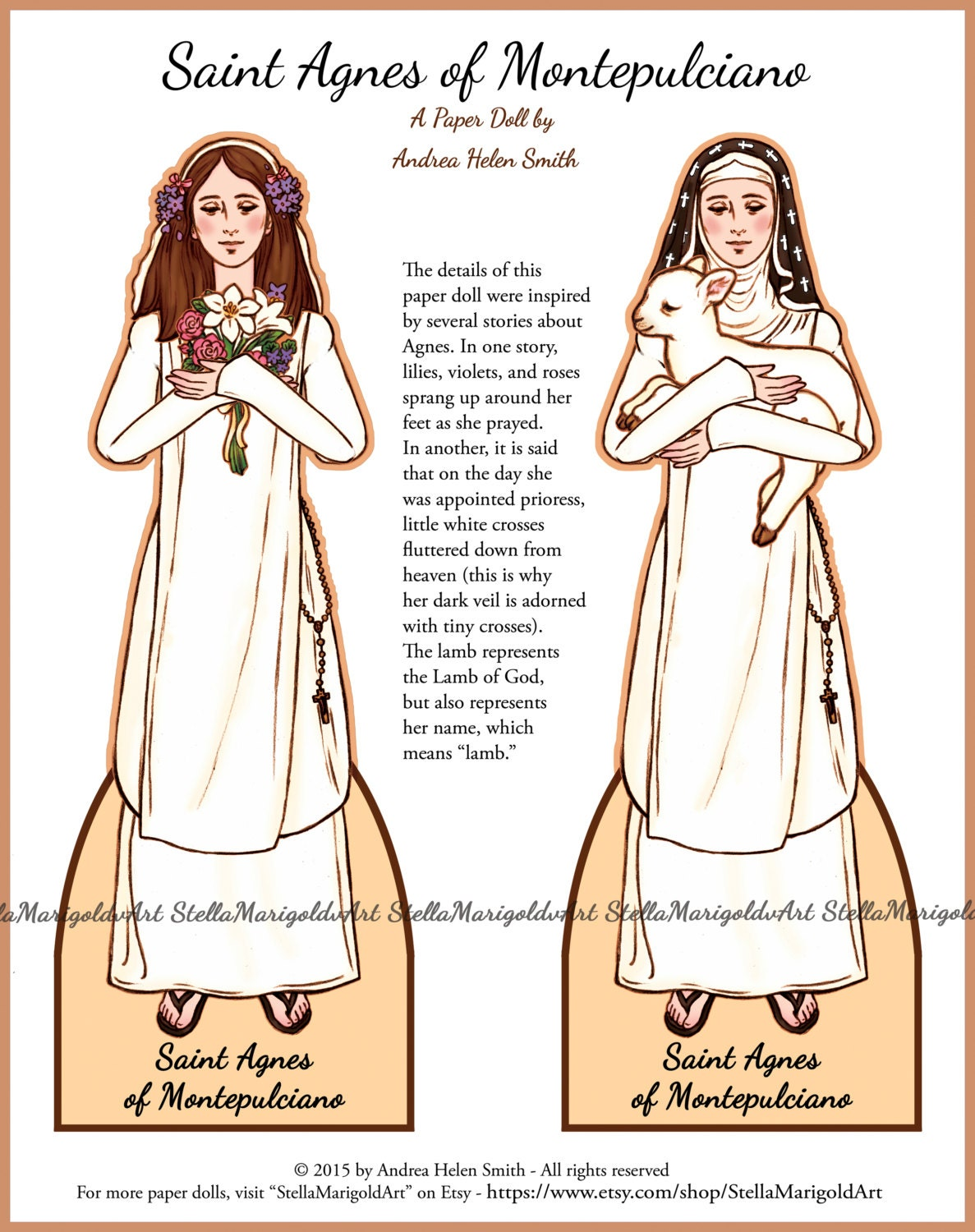 Saint Agnes of Montepulciano Paper Doll Traditional