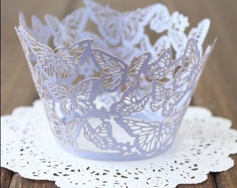 50x Lilac Butterfly Cupcake Wrapper for Wedding Party Cake Tree Decoration | Reception Centerpiece Baking Decor