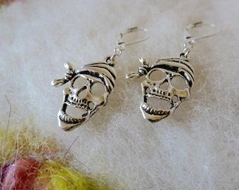 Pirate Skull Earrings Deadhead Pirate Jewelry Silver Tone Small Light Weight Earrings Fun Whimsical Jewelry