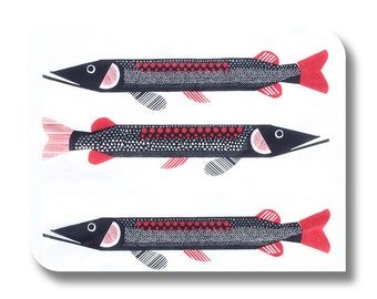 Marimekko paper napkin for decoupage, mixed media, collage, scrapbooking x 1. Marimekko Fish. No 1253