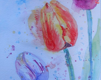 Tulip bumble bee art Watercolour Painting red pink Tulips Original flowers Floral painting Bright colours Flower Picture watercolour Tulip