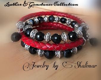 Leather-Gemstones Wrist Wrap