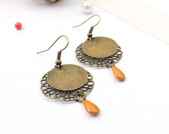 Bronze earrings / enamel earrings / drop earrings yellow / ocher and bronze earrings