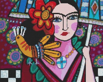 Frida Kahlo Cross stitch kit, Heather Galler,  'Mexican Frida Kahlo', counted crossstitch, modern cross stitch, Mexican Cross Stitch