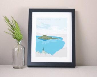Crater Lake Illustrated Print / Modern Home Decor / Oregon Art / Minimalist Nature Illustration / Landscape Art Print / National Park Art