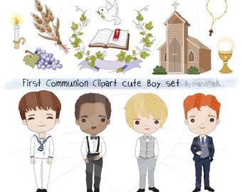 Ensemble de communion garçon clipart Instant Download - fichiers PNG.