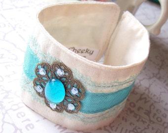 Aqua Blue Boho Bracelet - Fabric Cuff For Women - Vintage Bohemian Lace