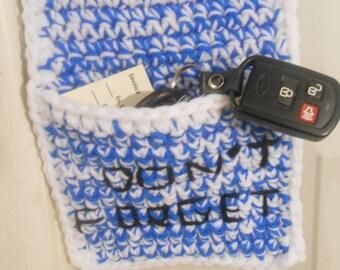 Key Keeper,  Crocheted Key Holder, Reminder Pocket, Key Holder, Door Knob Holder, Door Knob Organizer, Door Knob Hanger
