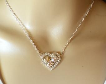 Champagne Moonlight, Swarovski Heart Necklace, Earring Set, Bridal, DKSJjewelrydesigns, FREE SHIPPING