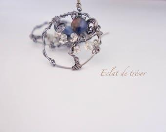 Grey copper Tree of life earrings, wire weaving, kyanite gemstone