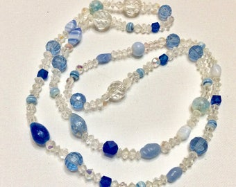 Blue glass lapis lazuli gold flake crystal beads necklace.