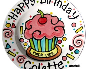 Personalized Birthday Plate confetti party swirls and cupcake handmade by Artzfolk