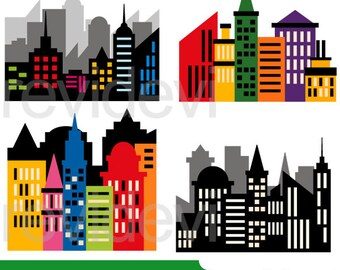 Superhero clipart - Skyline CIty buildings block clipart - Skyscraper clip art - Superhero city scene clipart - Digital images
