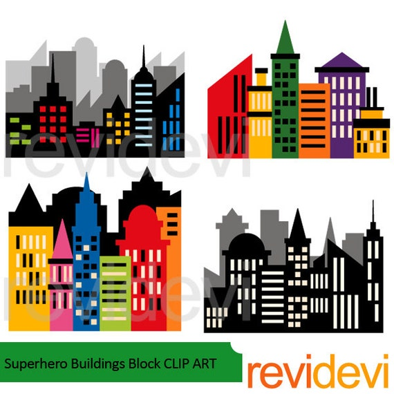 superhero clipart skyline city buildings block clipart rh etsy com city buildings clipart Cartoon City