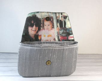 Silver Wedding Photo Purse for Mother of the Bride / Keepsake Wedding Gift Photo Clutch / Anniversary Gift for her