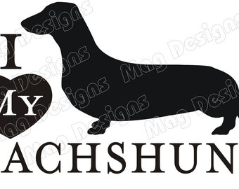 Sausage Dog Vinyl DACHSHUND Vinyl Dog Decal Silhouette on Etsy or you pick the color