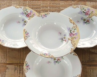 Breathtaking Antique Thun Windemere Rimmed Soup Bowls Set of 4 Czechoslovakia Multi Sided Bowls Wedding China, Replacement China, Ca. 1920's