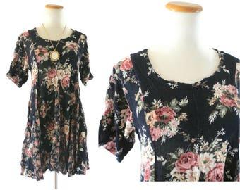 90s Babydoll Dress Floral Mini Dress 1990s Grunge Black Flower Print Rayon Semi Sheer Size Medium Large 90210 Style Baby Doll